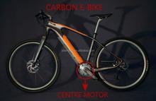 carbon fiber electric bike/250w brushless mid drive motor/light weight bike/ofeili/36v hidden battery/mountain bike