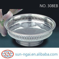 HOT sale elegant pattern stamping design metal silver plated 21cm round gallery tray with base stand for cupcake serving food