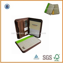 custom smooth A4 pu leather portfolio with calculator& pen holder