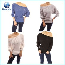 2015 Bigworld Splendid Women sweater Thermal 3/4 Sleeve Swing Colorful sweater