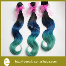 6A Gread blue 3 tone ombre brazilian virgin hair green weaving hair extension body wave remy hair no shedding