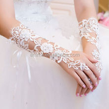 Top fashion white wedding glove new design fingerless lace bridal gloves for women GL4039