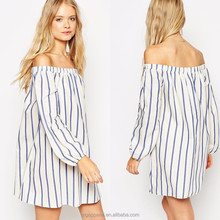 Cheap Long Sleeve Girl Dress Off Shoulder Mini Style Swing Dresses in Wide Stripe