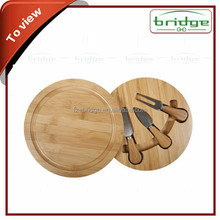 Olive wood bamboo cheese board with knife