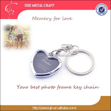 Valentines' Gift Heart Shape Photo Frame Metal Key Chain For Lover