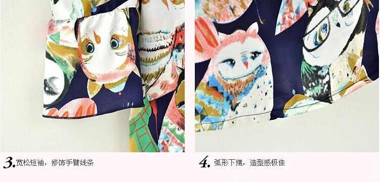 новые летние корейских женщин лук подтяжки печатных короткими рукавами рубашки шифон бретелек мультфильм птица