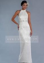 Elegant Halter Beaded Sheath Keyhole Back Long Train White Suzhou Lace Wedding Dress Patterns A86