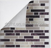 High Quality Mosaic Peel and Stick Wall Tiles in Random Brick Grey (Set of 6) by Tic Tac Tiles