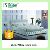 hot sale white leather high quality Diamond white leather bed design