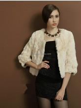 2015 Trend Style Rex Rabbit Fur Short Overcoat Real Animal Fur Coat Glamour Design