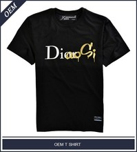 Alphabet printed t shirt with gold foil printing oem for men