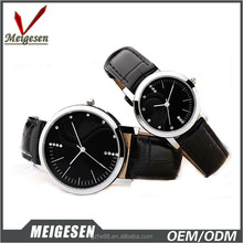 2015 trendy stainless steel case genuine leather strap gift set watches