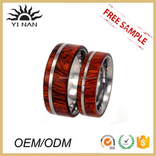 NEW Fashion Hot Sell Red Wood Inlay Titanium Steel Men's O Ring