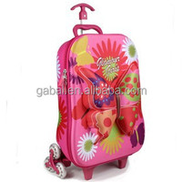 2015 waterproof kids 3D buttefly rolling wheeled EVA trolley case luggage case