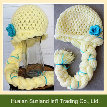 W-1187 child handmade knit pattern hat with braid kids crochet cartoon princess knit beanie