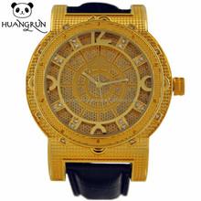 Trendy hot watch 18k gold synthetic diamond luxury men watch automatic