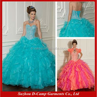 QU-033 Sweetheart corset ruffled organza wedding and quinceanera dresses 2014 quinceanera dresses turquoise