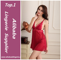 Red hot adult sexy transparent lingerie open bust sexy babydoll for women