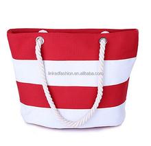 Summer Chevron Stripes Canvas Tote Women Carryall Shoulder Handbag