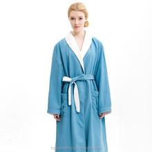 women's sleepwear lighe color blue shawl collar double layer microfiber sleepwear with animal sex at home wear