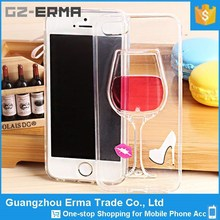 Hot Selling 3D Liquid Red Wine Glass Design TPU Side Covers for a iphone 4 4S