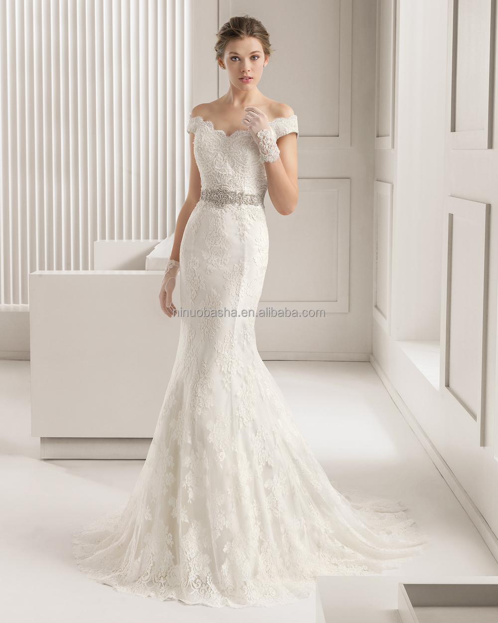 Off Shoulder Cap Sleeve Beaded Sash Long Tail Covered Button Bridal Gown NB1036 1