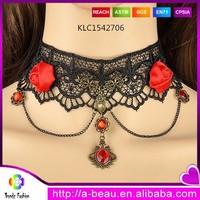 Black Gothic Lace Choker Blood Red Flower Crystal Pendant Fashion Vintange Lace Collar KLC1542706