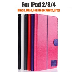 Wholesale Colored Leather Case For iPad 2 3 4 Flip Cover TPU Protective Book Case