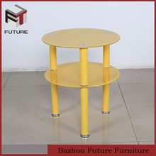 Modern colorful painting round glass top teapoy furniture