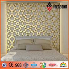 ISO and SGS Certificate Gold CNC Perforated Aluminum Paneling for Living Room