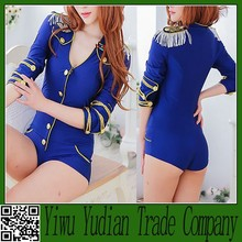 2015 Sexy blue conjoined stewardess uniforms, naval uniform
