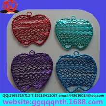 Hardware accessories metal copper iron Christmas apple shape prismatic square handmade woven wire circle earrings pendant