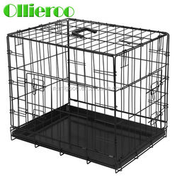 Top Selling Fully Assembled Two Doors Iron Dog Cage with Removable Tray