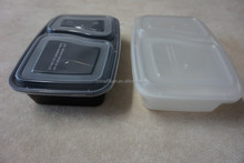 High quality FDA standard rectangular disposable plastic PP 1000ml microwave food packaging two compartment container