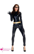 2015 Black Shiny PVC CATSUIT Catwoman Ladies Fancy Dress COSTUME