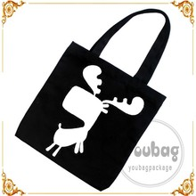 hot sales promotional black 100% cotton canvas tote bag
