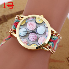Latest bracelet watch with weave band/lady wrist watches for women BWL0 26