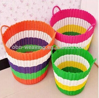 Wholesale cheap bulk colorful plastic rattan round basket with handle