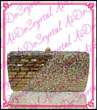 Aidocrystal pure handmade detachable chain yellow jewels all around clutch handbag for wedding party