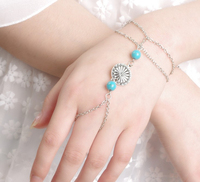 Costume Jewelry 2015 Chain Bracelet with Ring Attached