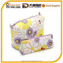 special flower pattern printed lady cosmetic bag zipper closure
