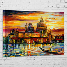 Impressionist oil painting of castle