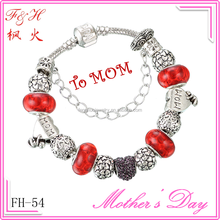 Mothers day wholesale gifts alloy bead and red murano glass bead fit 2015 fashion bracelet & DIY jewelry for girls and women