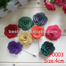 Guangzhou factory directly custom colors fabric rose flower lapel pin for men suits