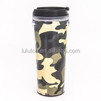 450ml vacuum tumbler with screw lid, cheap plastic coffee tumbler with paper insert