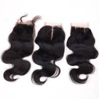 2015 New Arrival Natural Black 16 Brazilian Body Wave Virgin Human Hair Lace Closure