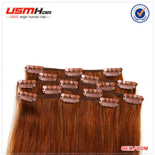 easy to wear natural looking clip in human hair extensions 300g