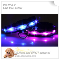 Factory wholesales waterproof led dog collar with elastic dog collars