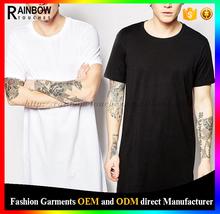 Plain Tee 2015 Fashion Custom Extend Long Line T Shirt Men