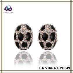 Insect Shape Ladybird Design With Black Dots Paint Gold Earring For Women